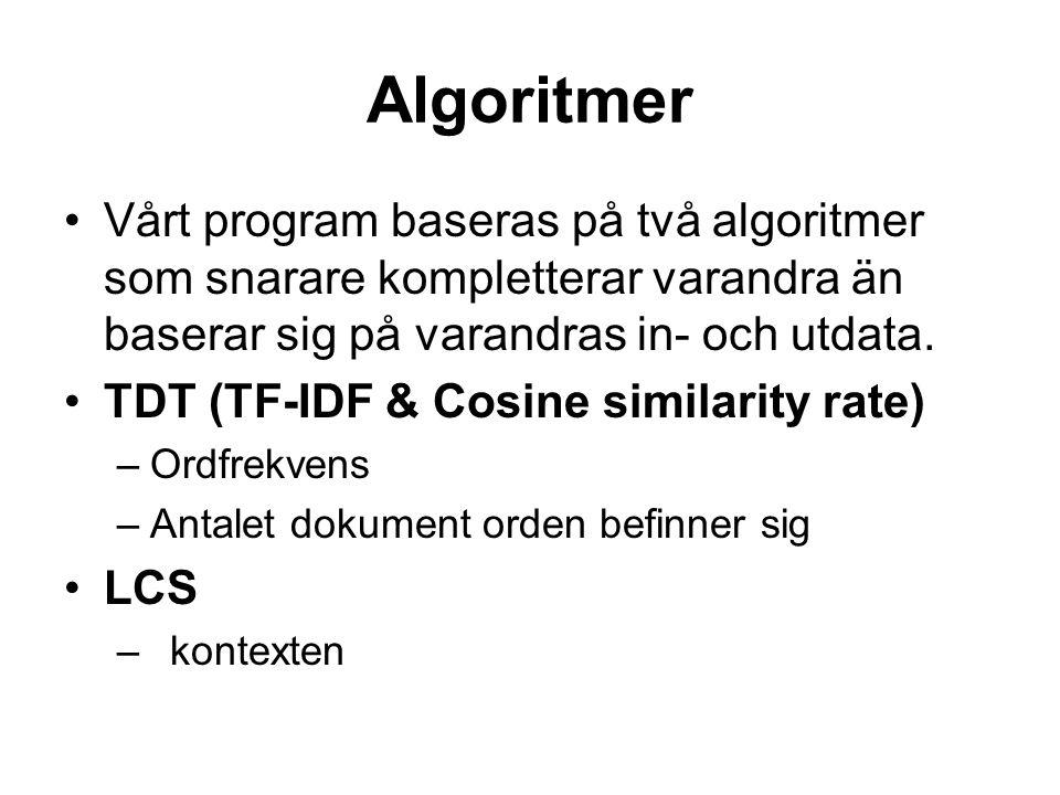 Algoritmer Vårt program baseras på två algoritmer som snarare kompletterar varandra än baserar sig på varandras in- och utdata. TDT (TF-IDF & Cosine s