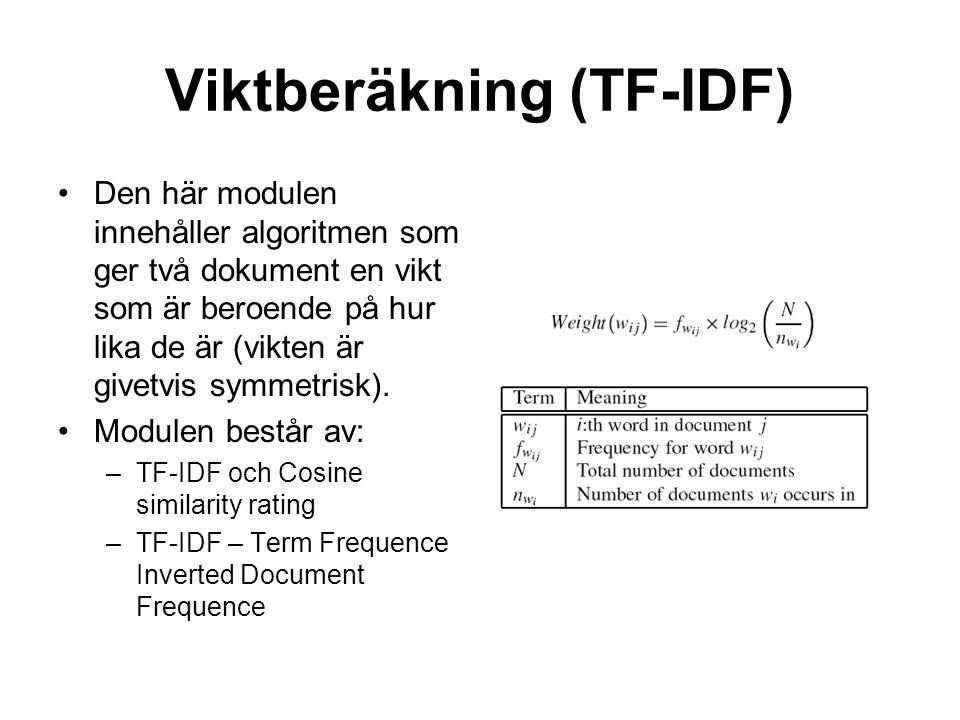 Viktberäkning (TF-IDF) Den här modulen innehåller algoritmen som ger två dokument en vikt som är beroende på hur lika de är (vikten är givetvis symmetrisk).