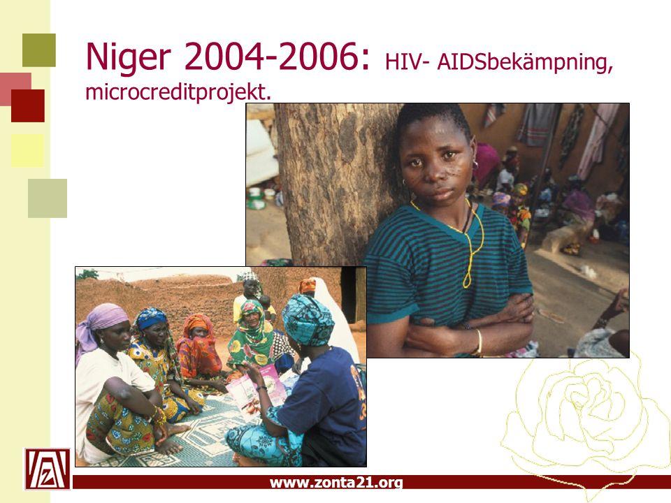 www.zonta21.org Niger 2004-2006: HIV- AIDSbekämpning, microcreditprojekt.