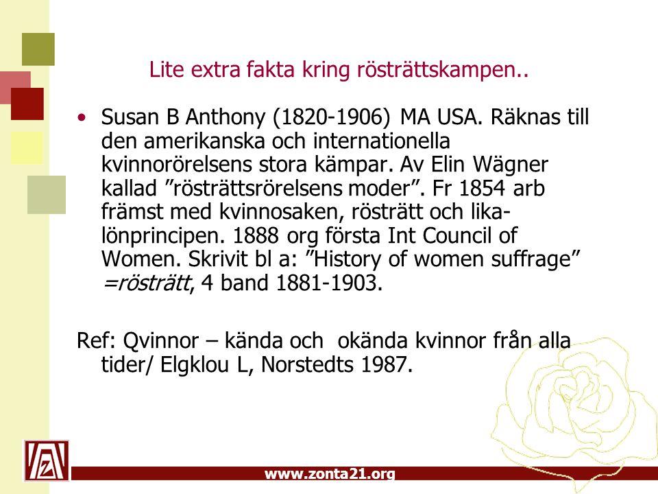 www.zonta21.org Lite extra fakta kring rösträttskampen.. Susan B Anthony (1820-1906) MA USA. Räknas till den amerikanska och internationella kvinnorör
