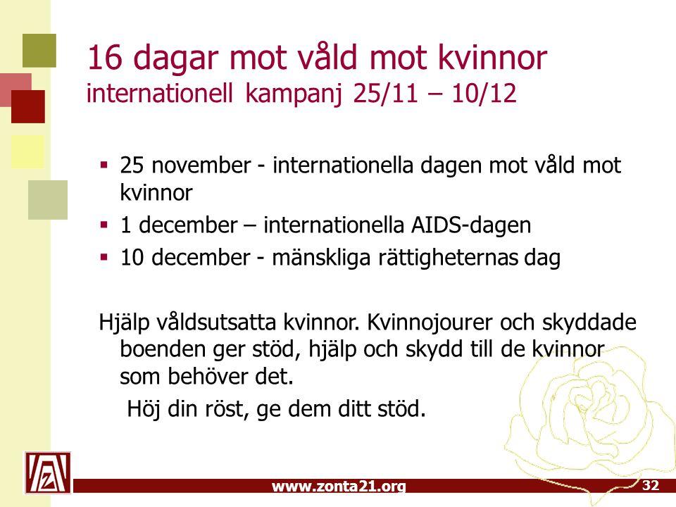 www.zonta21.org 16 dagar mot våld mot kvinnor internationell kampanj 25/11 – 10/12 32  25 november - internationella dagen mot våld mot kvinnor  1 d