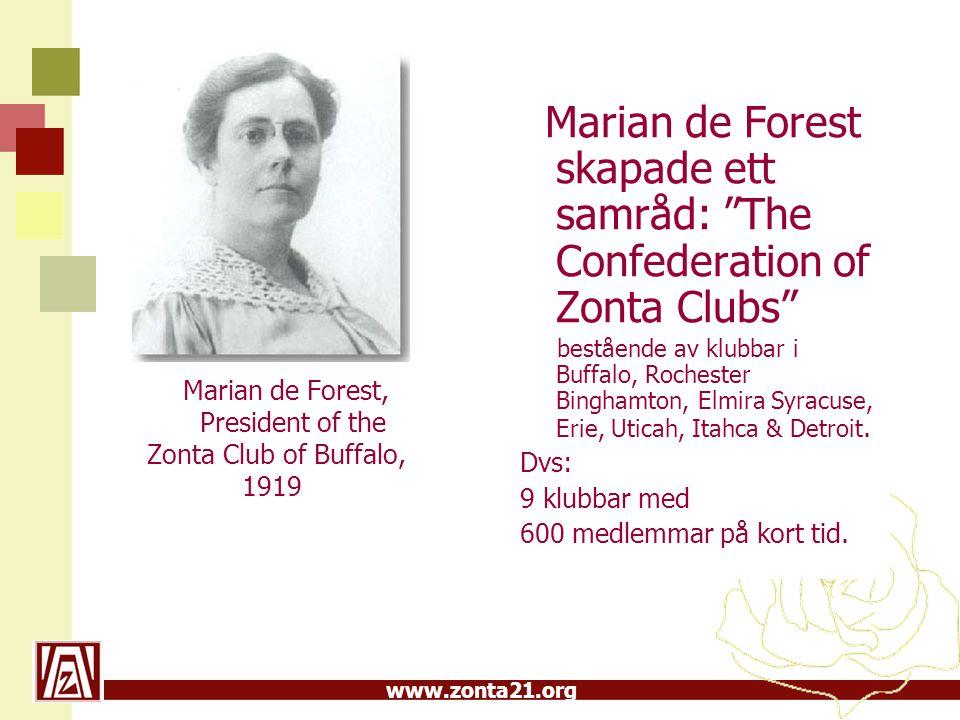 www.zonta21.org Zonta i Sverige 1:a klubben i Sverige Stockholm I, bildades 1935 Textilkonstnärinnan Elsa Gullberg, vid affärsresa i USA, kom i kontakt med Zonta.