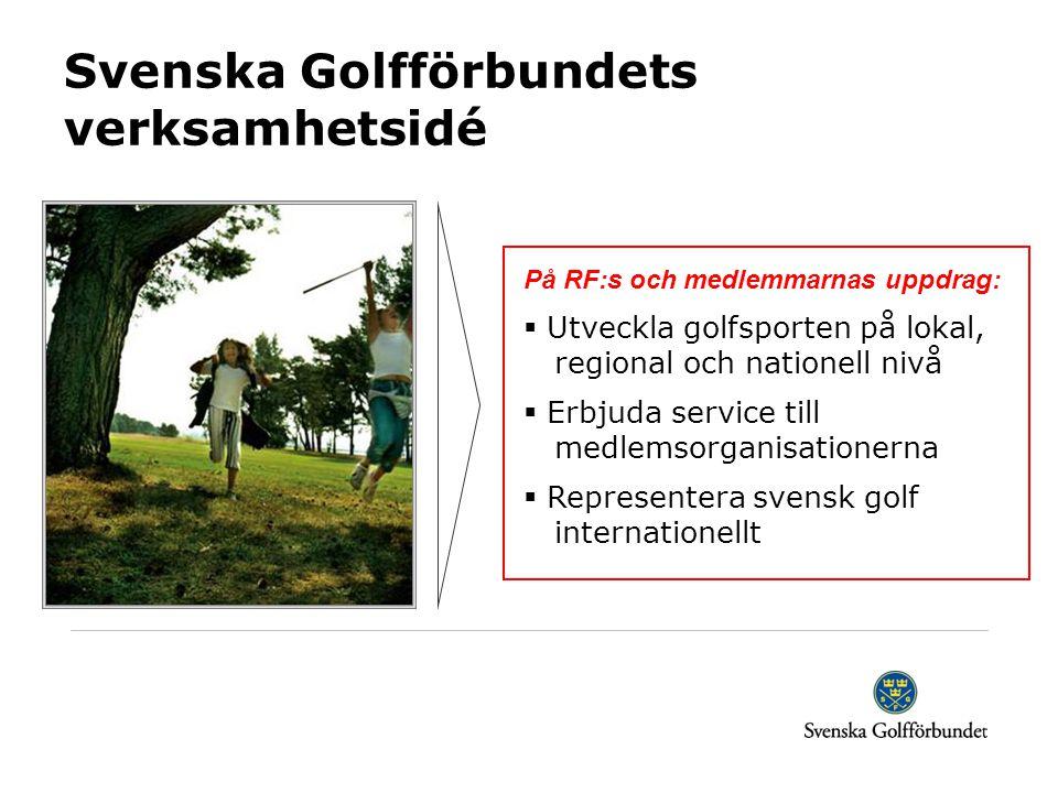 Svenska Golfförbundets verksamhetsidé På RF:s och medlemmarnas uppdrag:  Utveckla golfsporten på lokal, regional och nationell nivå  Erbjuda service