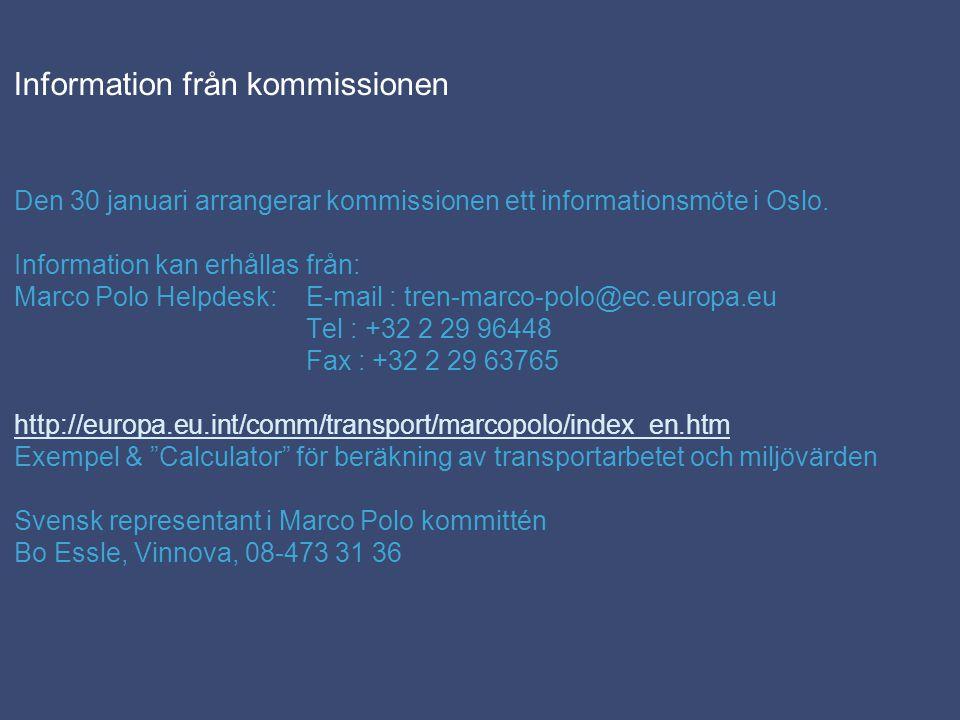 Information från kommissionen Den 30 januari arrangerar kommissionen ett informationsmöte i Oslo.