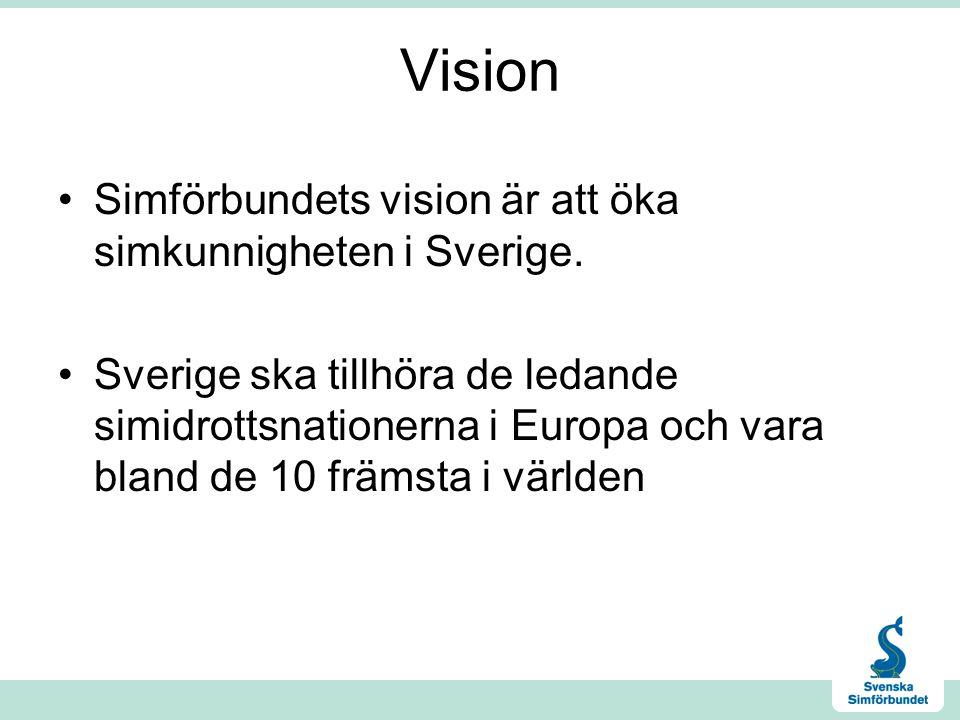 Vision Simförbundets vision är att öka simkunnigheten i Sverige. Sverige ska tillhöra de ledande simidrottsnationerna i Europa och vara bland de 10 fr