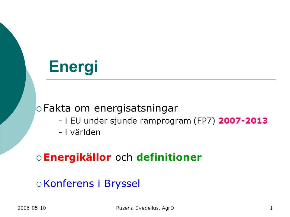 2006-05-10Ruzena Svedelius, AgrD1 Energi  Fakta om energisatsningar - i EU under sjunde ramprogram (FP7) 2007-2013 - i världen  Energikällor och definitioner  Konferens i Bryssel