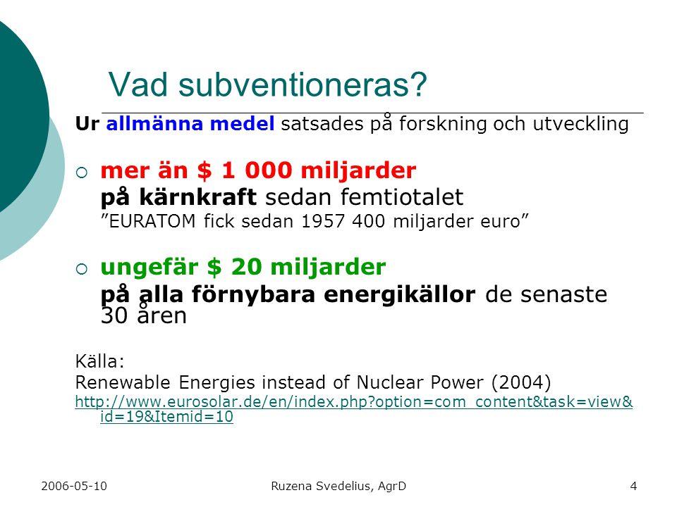 2006-05-10Ruzena Svedelius, AgrD4 Vad subventioneras? Ur allmänna medel satsades på forskning och utveckling mmer än $ 1 000 miljarder på kärnkraft
