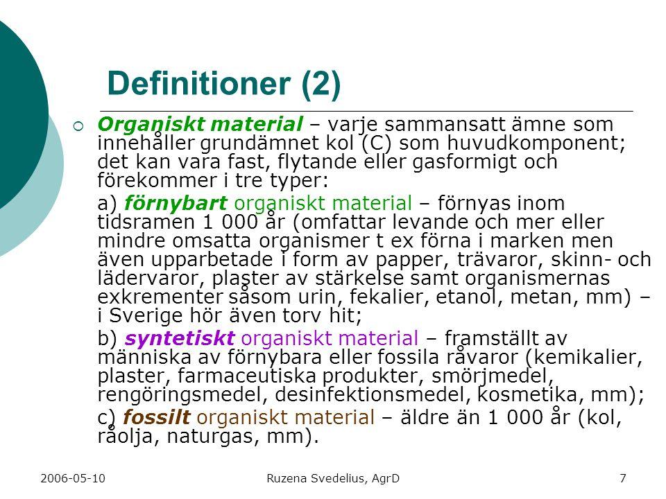 2006-05-10Ruzena Svedelius, AgrD7 Definitioner (2)  Organiskt material – varje sammansatt ämne som innehåller grundämnet kol (C) som huvudkomponent;