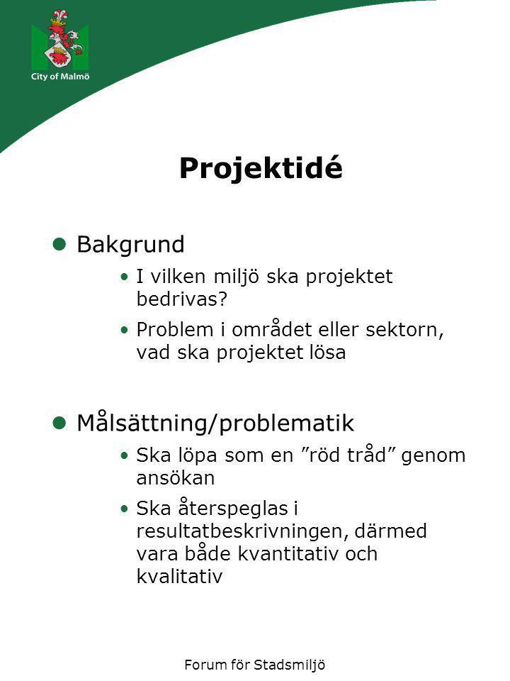 Forum för Stadsmiljö Projektidé Bakgrund I vilken miljö ska projektet bedrivas? Problem i området eller sektorn, vad ska projektet lösa Målsättning/pr