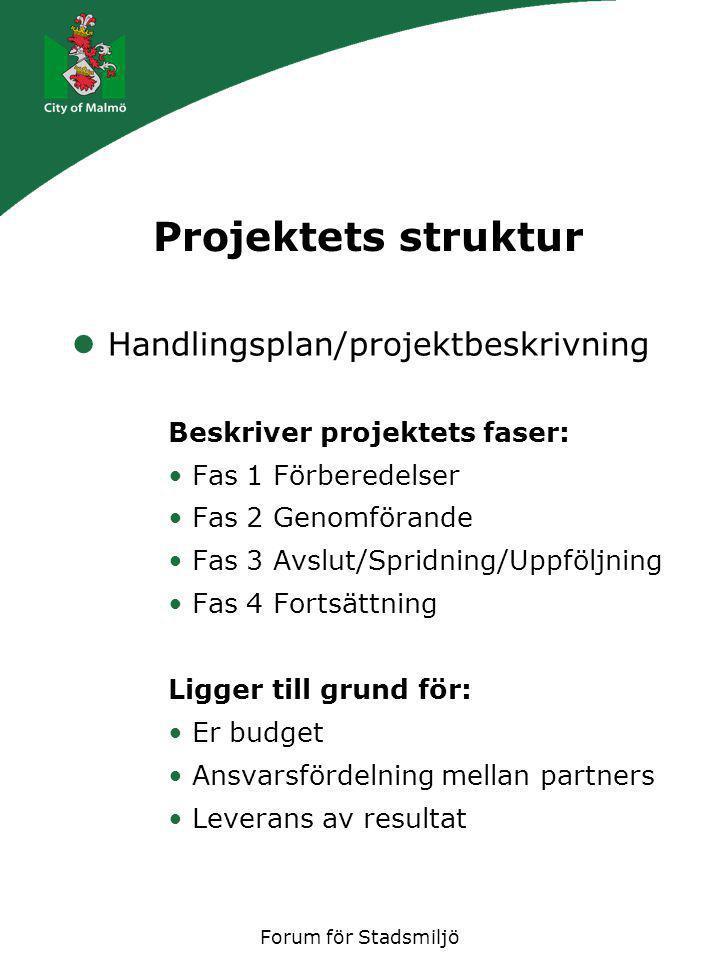 Forum för Stadsmiljö Projektets struktur Handlingsplan/projektbeskrivning Beskriver projektets faser: Fas 1 Förberedelser Fas 2 Genomförande Fas 3 Avslut/Spridning/Uppföljning Fas 4 Fortsättning Ligger till grund för: Er budget Ansvarsfördelning mellan partners Leverans av resultat