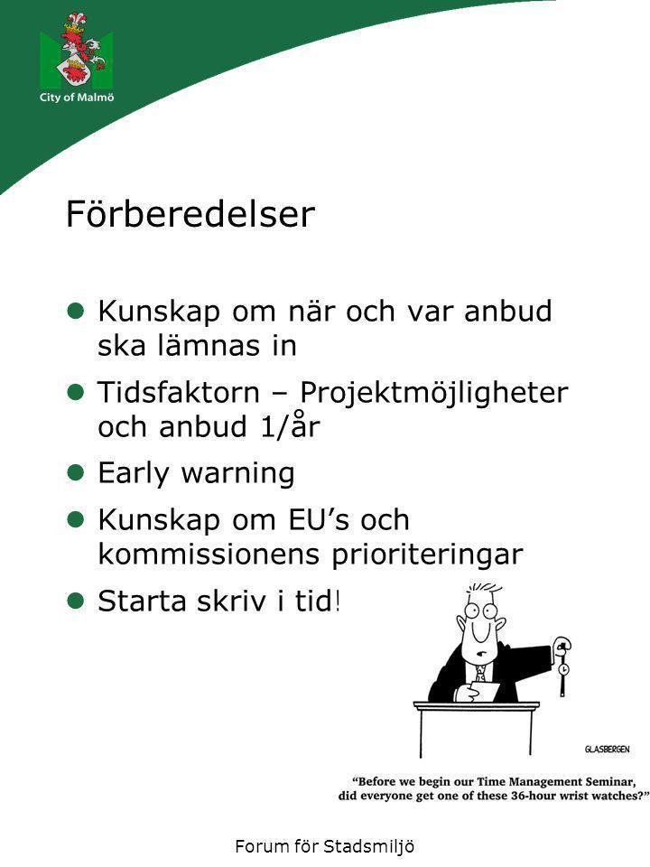 Forum för Stadsmiljö Noggranna förberedelser Vad kräver kommissionen alltid och som man kan plocka fram i förväg….