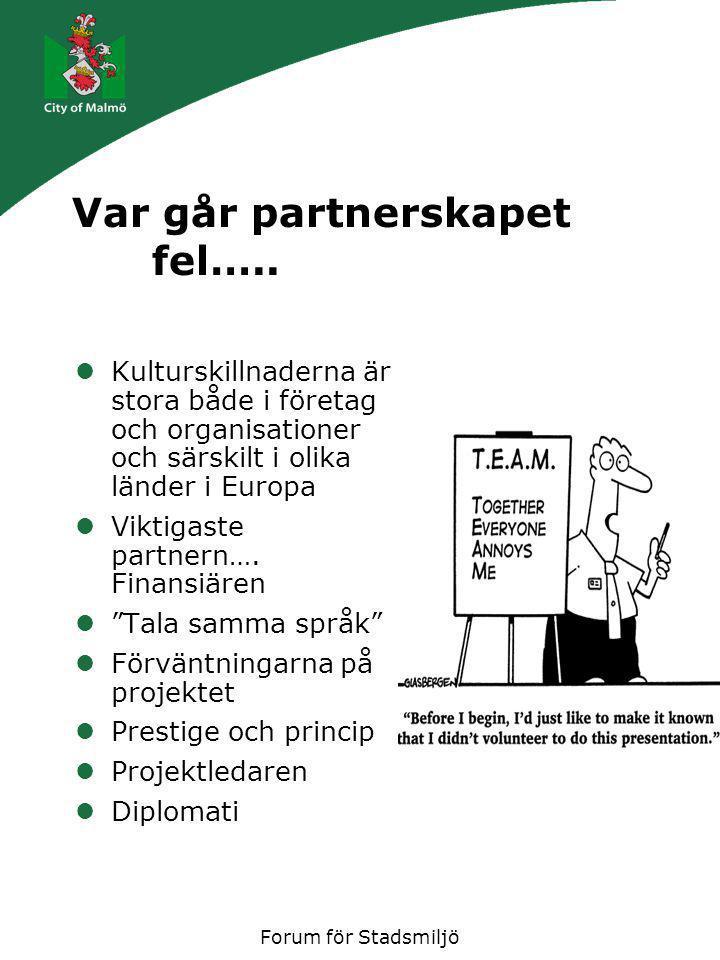 Forum för Stadsmiljö Projektet Alla projekt är viktiga (i alla fall till en början) men, prioritera rätt Flexibla projektidéer är en förutsättning EU's prioriteringar vis a vis våra egna Ofta råder INTE konsensus mellan idé och verklighet