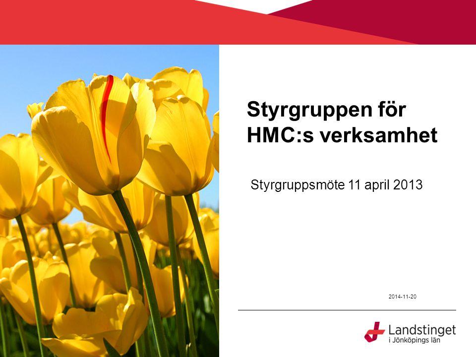 Styrgruppen för HMC:s verksamhet Styrgruppsmöte 11 april 2013 2014-11-20