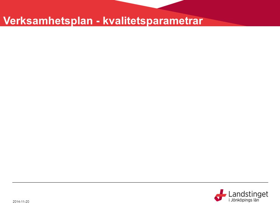 Verksamhetsplan - kvalitetsparametrar 2014-11-20