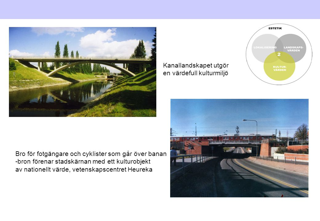 Kanallandskapet utgör en värdefull kulturmiljö Bro för fotgängare och cyklister som går över banan -bron förenar stadskärnan med ett kulturobjekt av n