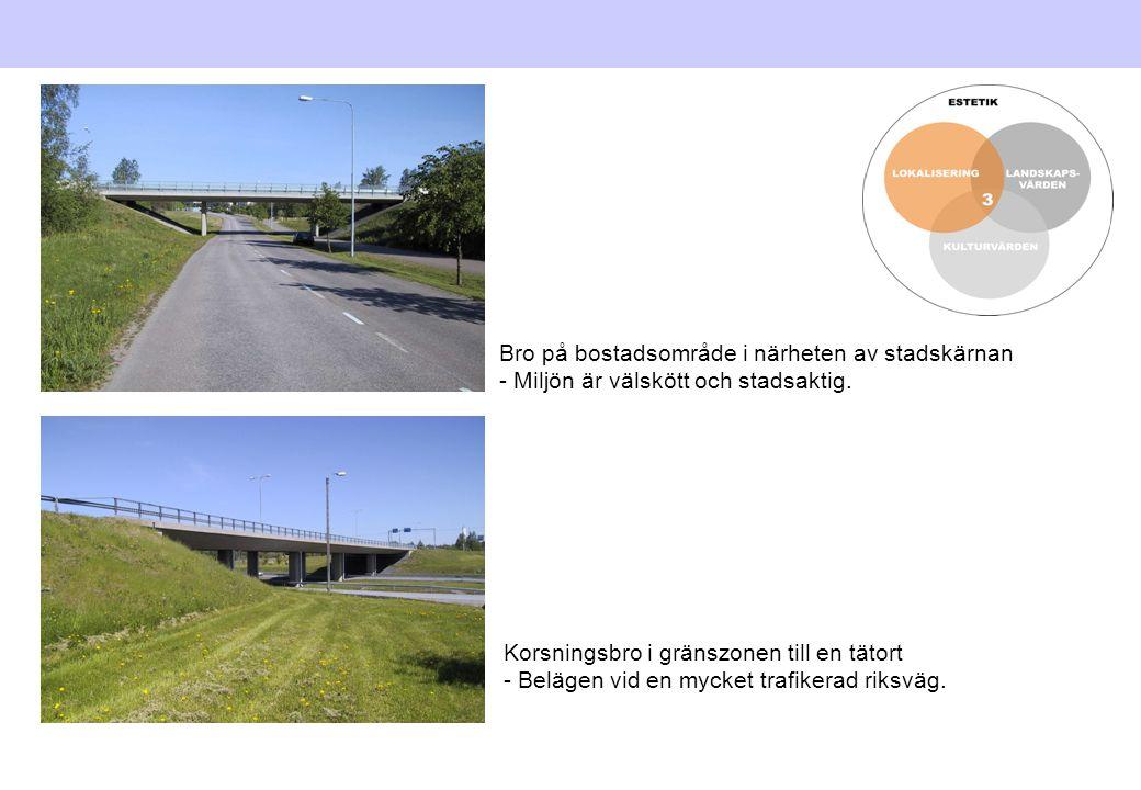 Korsningsbro i gränszonen till en tätort - Belägen vid en mycket trafikerad riksväg. Bro på bostadsområde i närheten av stadskärnan - Miljön är välskö