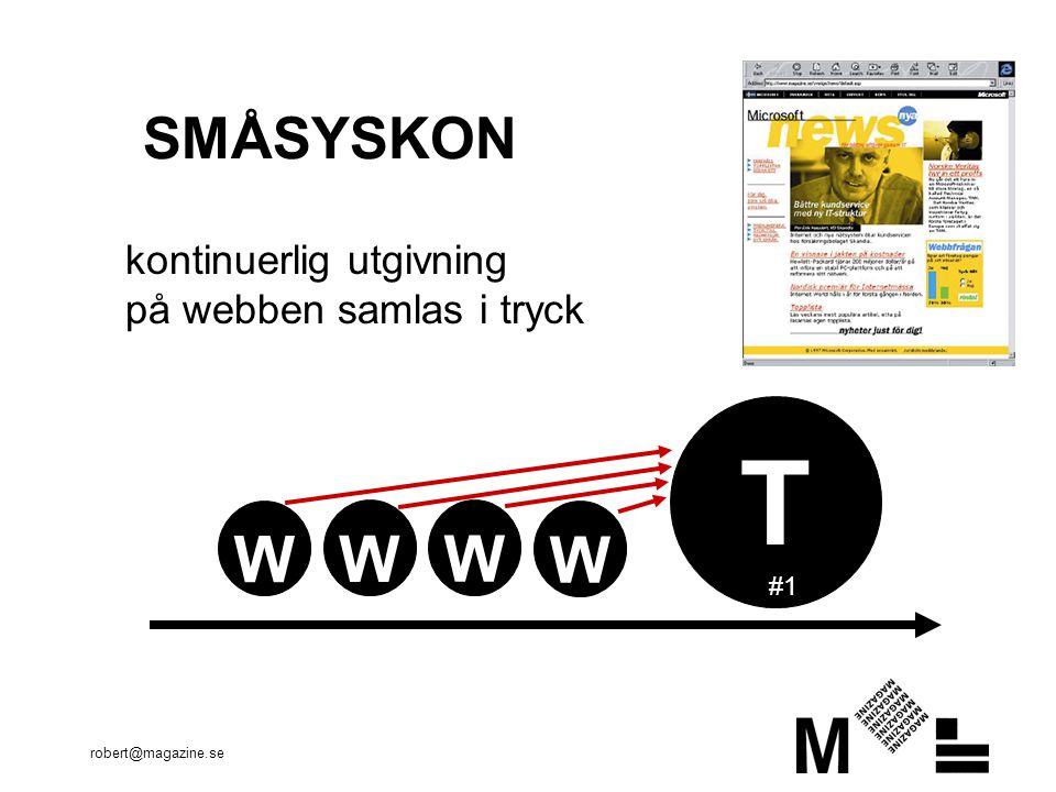 robert@magazine.se SMÅSYSKON T kontinuerlig utgivning på webben samlas i tryck #1 W W W W