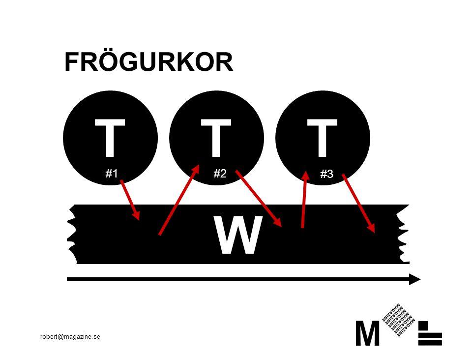 robert@magazine.se FRÖGURKOR TTT W #1 #2 #3