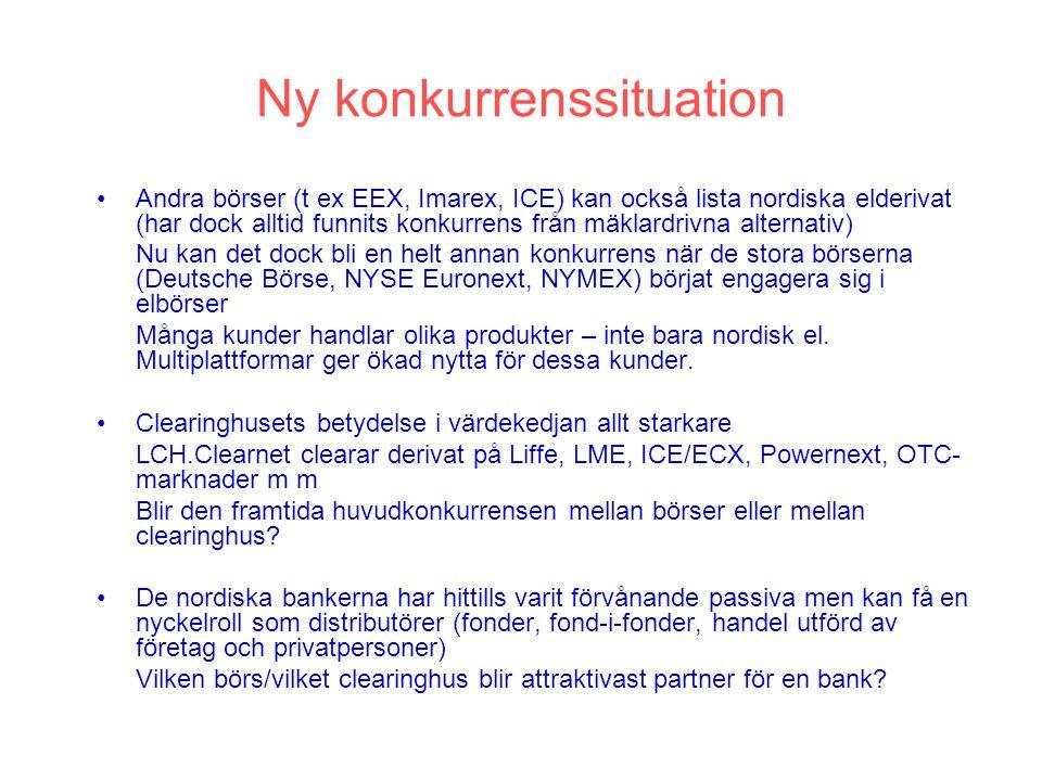 Ny börsstruktur Spotbörs NP Spot Nordiska Elderivat NP ASA Balans- avräkning NCSD VPC Aktiebörser Energiderivat (int el, CO2, ??) NP International Clearinghus för alla derivat Nasdaq OMX Nordic Aktiederivat Räntederivat