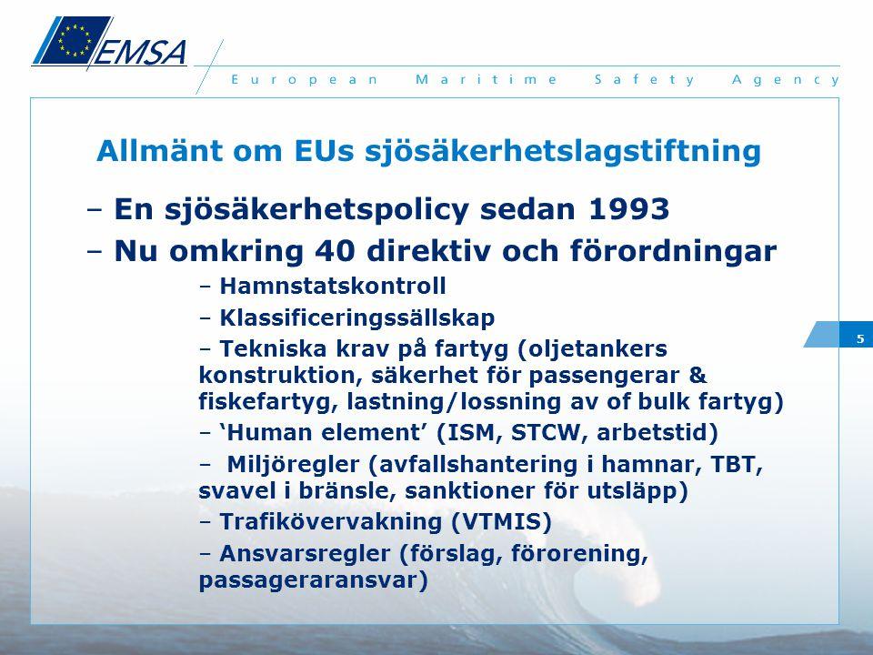 5 Allmänt om EUs sjösäkerhetslagstiftning – En sjösäkerhetspolicy sedan 1993 – Nu omkring 40 direktiv och förordningar – Hamnstatskontroll – Klassificeringssällskap – Tekniska krav på fartyg (oljetankers konstruktion, säkerhet för passengerar & fiskefartyg, lastning/lossning av of bulk fartyg) – 'Human element' (ISM, STCW, arbetstid) – Miljöregler (avfallshantering i hamnar, TBT, svavel i bränsle, sanktioner för utsläpp) – Trafikövervakning (VTMIS) – Ansvarsregler (förslag, förorening, passageraransvar)