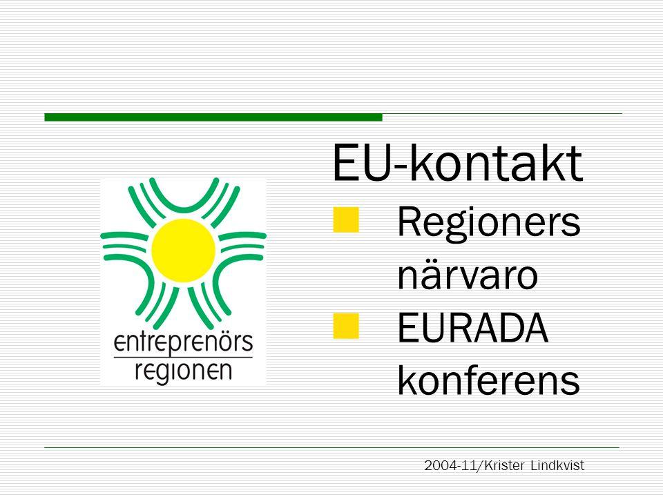  Sveriges har 7-8 konto North Sw Mid-Sweden Central Stockholm Entreprenörsregionen 2004-11/ K L Sida 2 Entreprenörsregionen i EU-perspektiv Regional närvaro i Bryssel  250 regionkontor från medlemsländer från wan-o-bees allm info-intressebevakning West East South Malmö