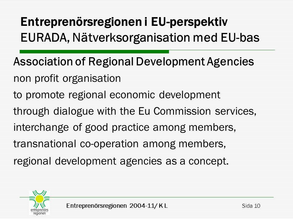 Entreprenörsregionen 2004-11/ K L Sida 10 Entreprenörsregionen i EU-perspektiv EURADA, Nätverksorganisation med EU-bas Association of Regional Develop