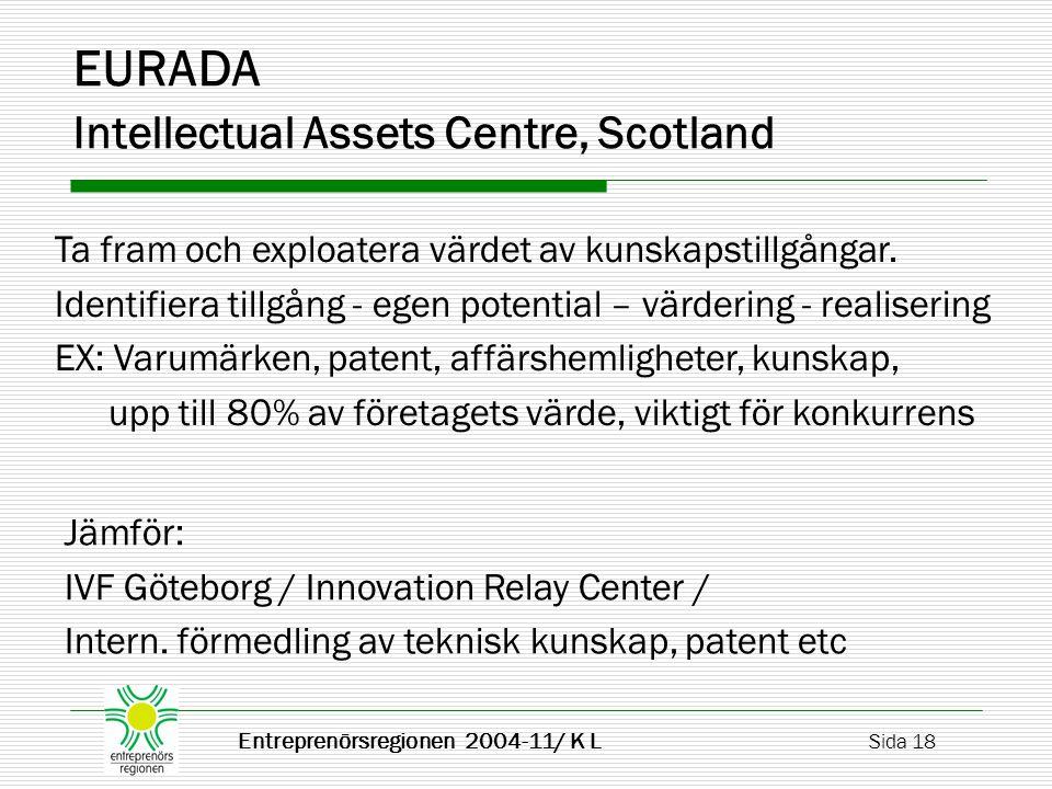 Entreprenörsregionen 2004-11/ K L Sida 18 EURADA Intellectual Assets Centre, Scotland Ta fram och exploatera värdet av kunskapstillgångar.