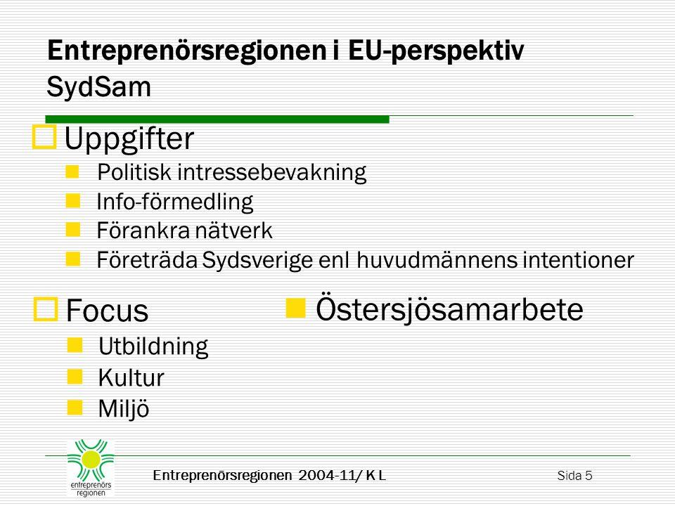  Fokus / Arbetsområden Miljö och energi Lokal utveckling Social ekonomi Folkhälsa Entreprenörsregionen 2004-11/ K L Sida 6 Entreprenörsregionen i EU-perspektiv Central Sweden  Metodik Informera Utbilda för EU-stöd till reg.