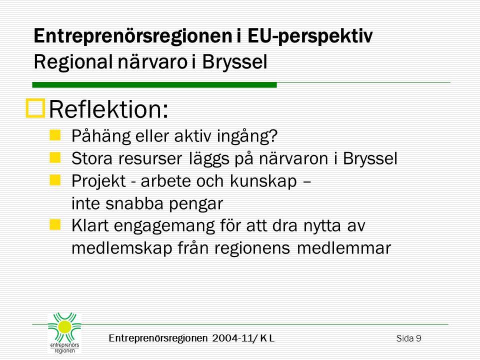 Entreprenörsregionen 2004-11/ K L Sida 20 EURADA Regional Economic Growth Slutledning av BAK International Benchmark Club, Basel: För att få åstadkomma hög ekonomisk tillväxt gäller att uppehålla och förbättra utvecklingsstimulerande ramverk på regional nivå.