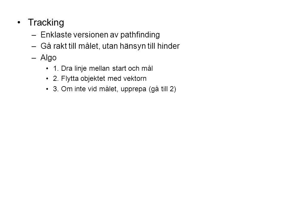 Tracking –Enklaste versionen av pathfinding –Gå rakt till målet, utan hänsyn till hinder –Algo 1.