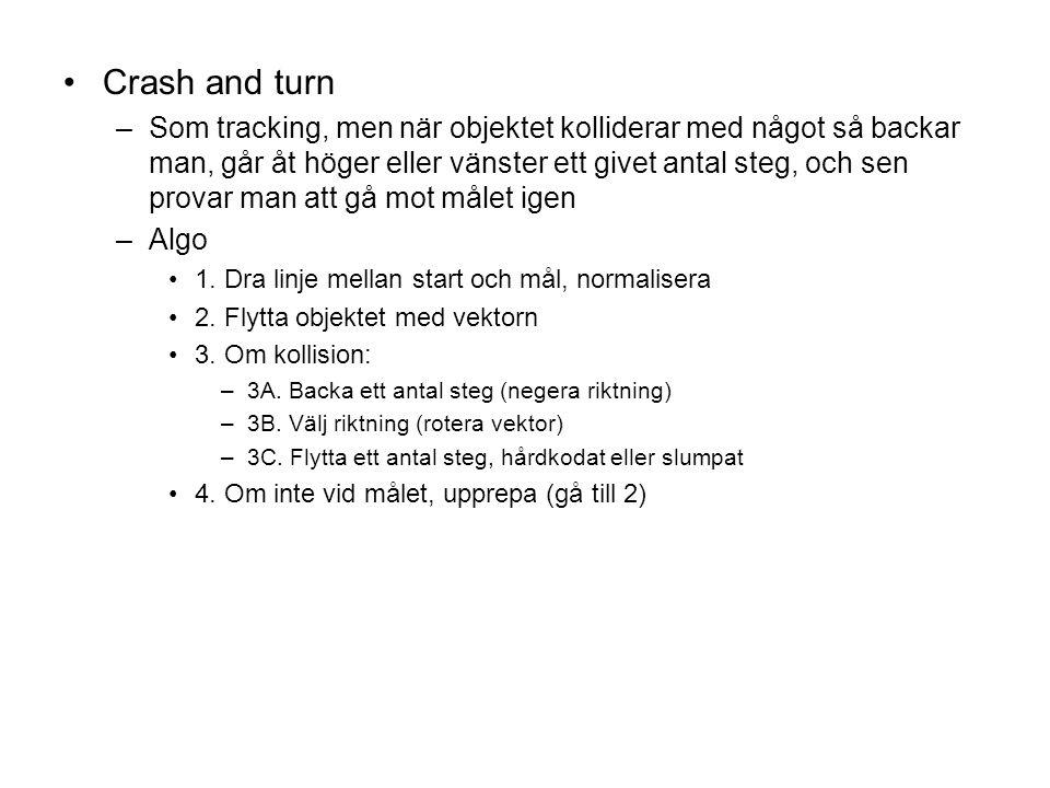 Crash and turn –Som tracking, men när objektet kolliderar med något så backar man, går åt höger eller vänster ett givet antal steg, och sen provar man att gå mot målet igen –Algo 1.