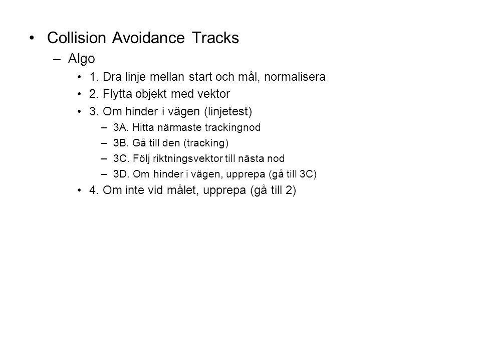 Collision Avoidance Tracks –Algo 1. Dra linje mellan start och mål, normalisera 2.