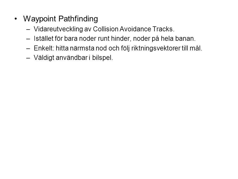 Waypoint Pathfinding –Vidareutveckling av Collision Avoidance Tracks. –Istället för bara noder runt hinder, noder på hela banan. –Enkelt: hitta närmst