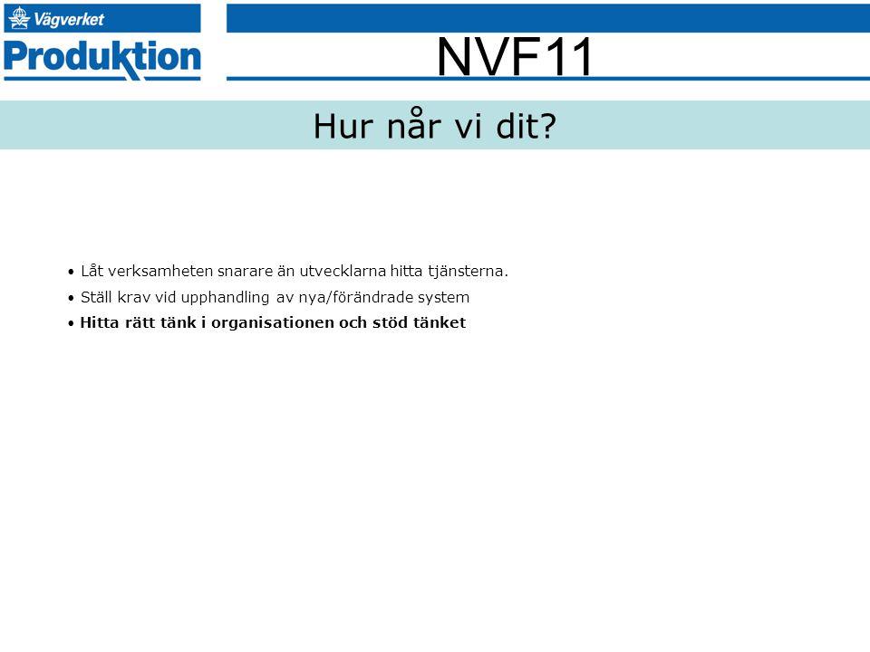 NVF11 Låt verksamheten snarare än utvecklarna hitta tjänsterna. Ställ krav vid upphandling av nya/förändrade system Hitta rätt tänk i organisationen o