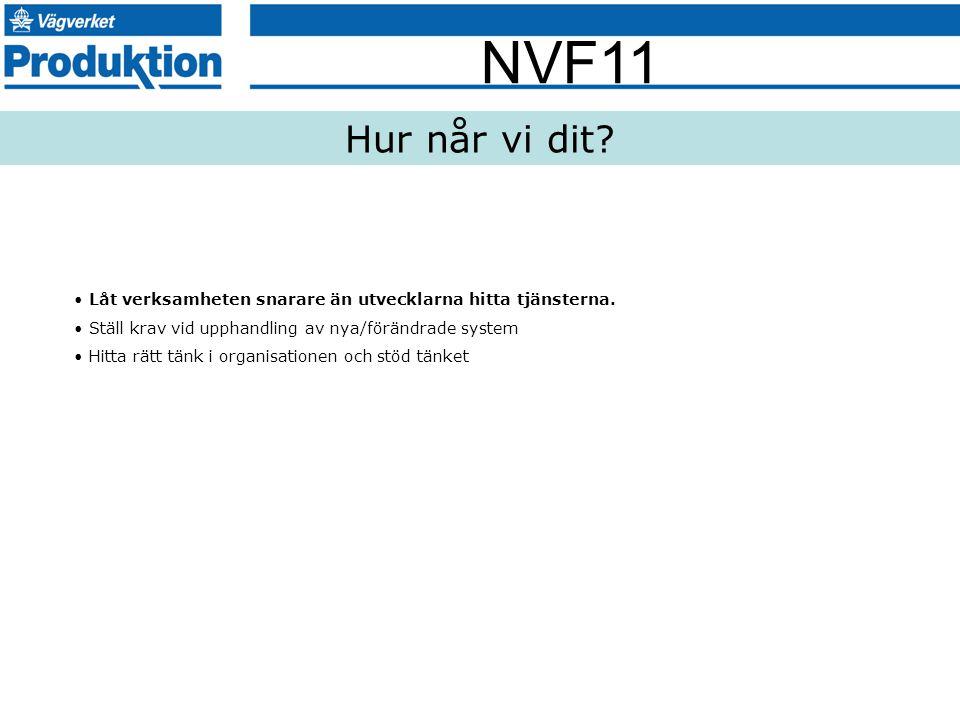 NVF11 Hur når vi dit? Låt verksamheten snarare än utvecklarna hitta tjänsterna. Ställ krav vid upphandling av nya/förändrade system Hitta rätt tänk i