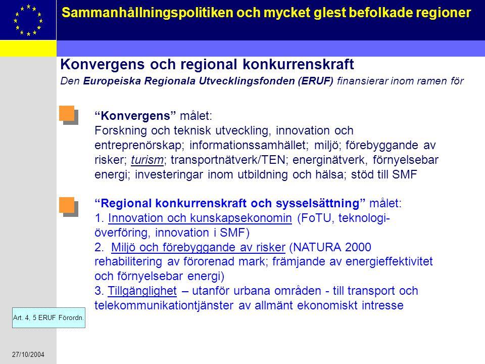 27/10/2004 9 Sammanhållningspolitiken och mycket glest befolkade regioner Konvergens och regional konkurrenskraft Den Europeiska Regionala Utvecklings