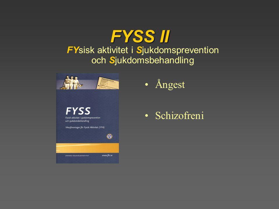 FYsisk aktivitet i Sjukdomsprevention och Sjukdomsbehandling FYSS II Ångest Schizofreni