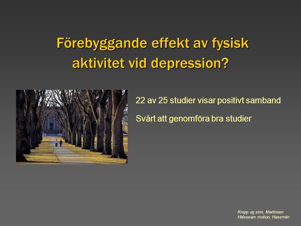 Förebyggande effekt av fysisk aktivitet vid depression? 22 av 25 studier visar positivt samband Svårt att genomföra bra studier Kropp og sinn, Martins