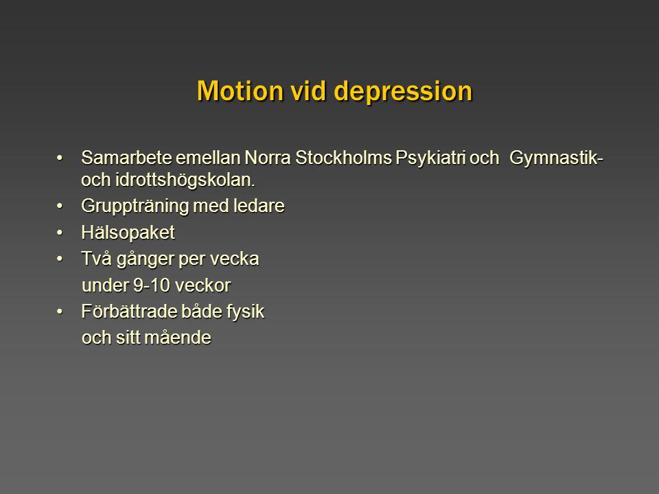 Motion vid depression Samarbete emellan Norra Stockholms Psykiatri och Gymnastik- och idrottshögskolan.Samarbete emellan Norra Stockholms Psykiatri oc