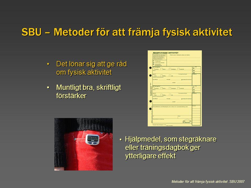 SBU – Metoder för att främja fysisk aktivitet Det lönar sig att ge råd om fysisk aktivitetDet lönar sig att ge råd om fysisk aktivitet Muntligt bra, s