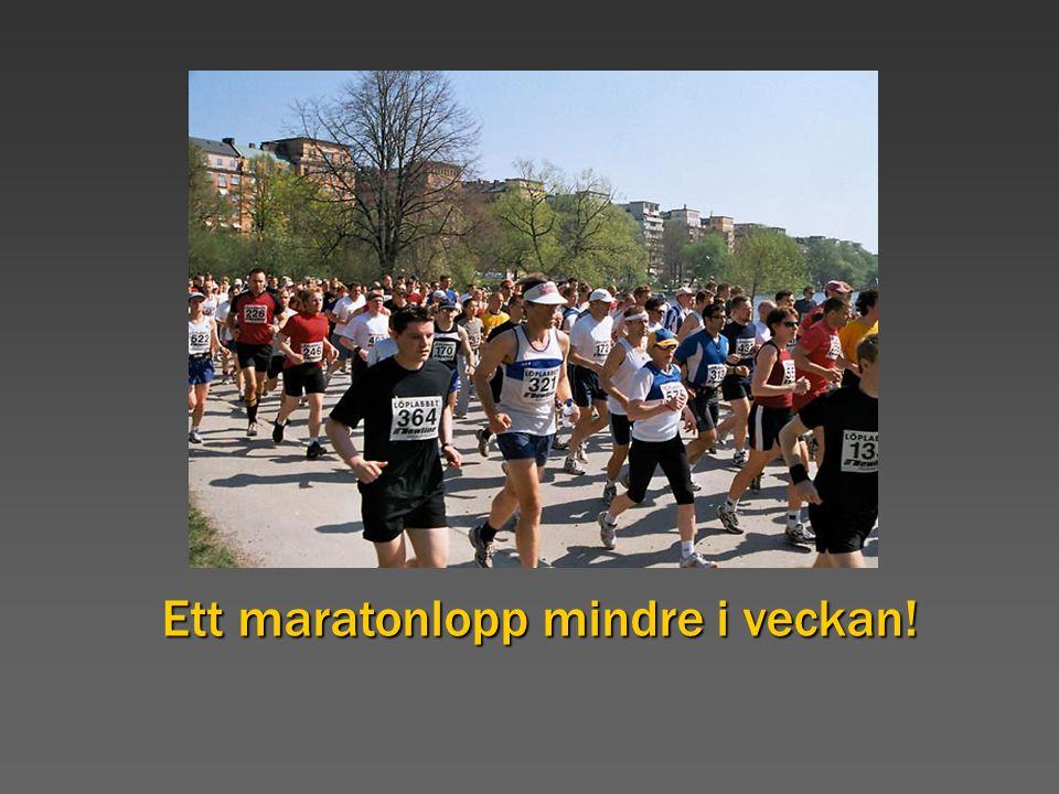 Marathon Ett maratonlopp mindre i veckan!