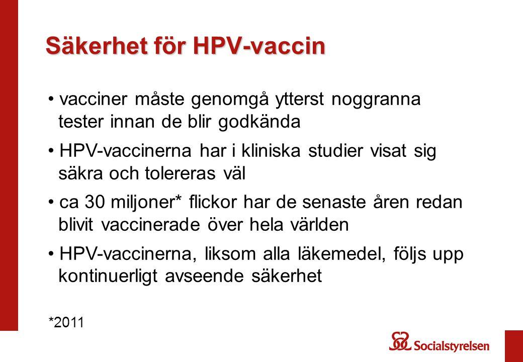 Säkerhet för HPV-vaccin vacciner måste genomgå ytterst noggranna tester innan de blir godkända HPV-vaccinerna har i kliniska studier visat sig säkra och tolereras väl ca 30 miljoner* flickor har de senaste åren redan blivit vaccinerade över hela världen HPV-vaccinerna, liksom alla läkemedel, följs upp kontinuerligt avseende säkerhet *2011