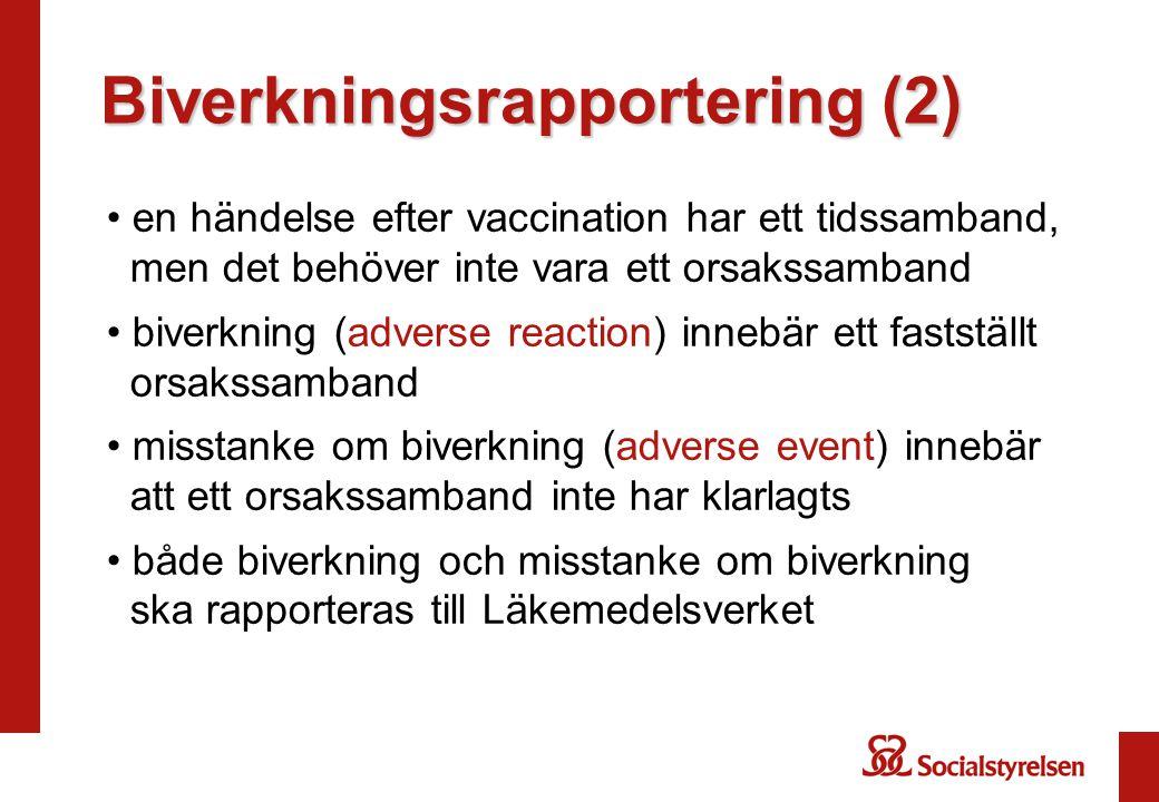 Biverkningsrapportering (2) en händelse efter vaccination har ett tidssamband, men det behöver inte vara ett orsakssamband biverkning (adverse reaction) innebär ett fastställt orsakssamband misstanke om biverkning (adverse event) innebär att ett orsakssamband inte har klarlagts både biverkning och misstanke om biverkning ska rapporteras till Läkemedelsverket