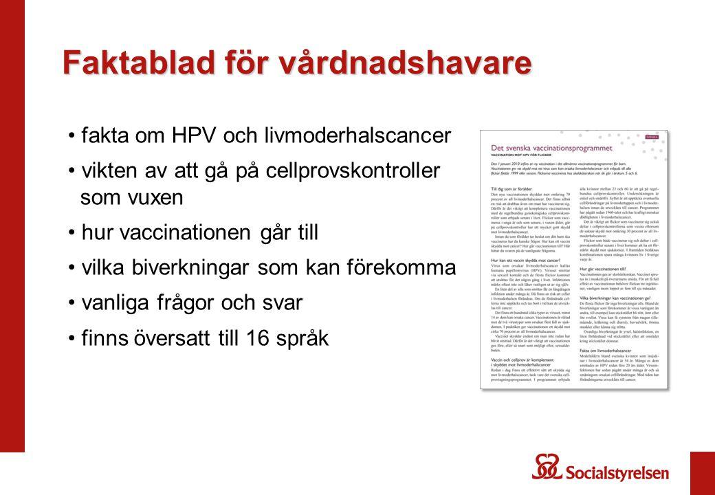 Faktablad för vårdnadshavare fakta om HPV och livmoderhalscancer vikten av att gå på cellprovskontroller som vuxen hur vaccinationen går till vilka biverkningar som kan förekomma vanliga frågor och svar finns översatt till 16 språk