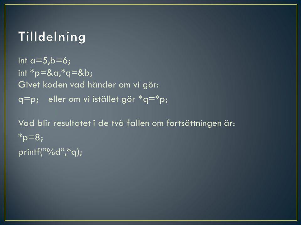 int a=5,b=6; int *p=&a,*q=&b; Givet koden vad händer om vi gör: q=p;eller om vi istället gör*q=*p; Vad blir resultatet i de två fallen om fortsättningen är: *p=8; printf( %d ,*q);