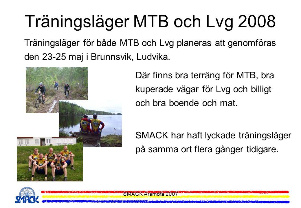 SMACK Årsmöte 2007 Träningsläger MTB och Lvg 2008 Träningsläger för både MTB och Lvg planeras att genomföras den 23-25 maj i Brunnsvik, Ludvika. Där f