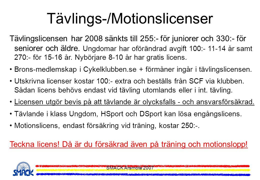 SMACK Årsmöte 2007 Tävlings-/Motionslicenser Tävlingslicensen har 2008 sänkts till 255:- för juniorer och 330:- för seniorer och äldre. Ungdomar har o