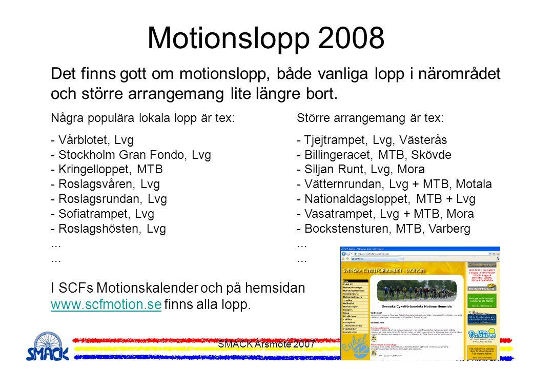 SMACK Årsmöte 2007 Motionslopp 2008 Det finns gott om motionslopp, både vanliga lopp i närområdet och större arrangemang lite längre bort. Några popul