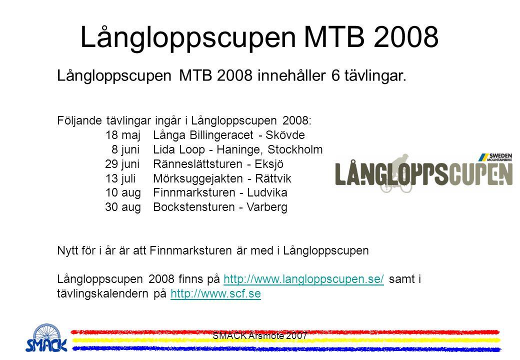 SMACK Årsmöte 2007 Långloppscupen MTB 2008 Långloppscupen MTB 2008 innehåller 6 tävlingar. Följande tävlingar ingår i Långloppscupen 2008: 18 maj Lång