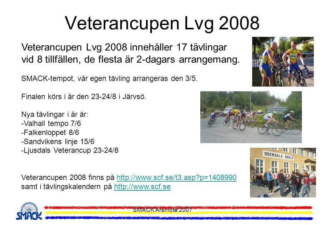 SMACK Årsmöte 2007 Veterancupen Lvg 2008 Veterancupen Lvg 2008 innehåller 17 tävlingar vid 8 tillfällen, de flesta är 2-dagars arrangemang. SMACK-temp